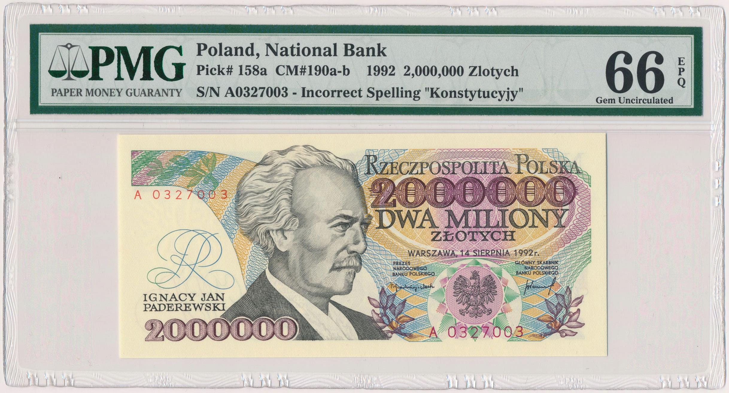 3543. 2 mln zł 1992 - A - z błędem - PMG 66 EPQ