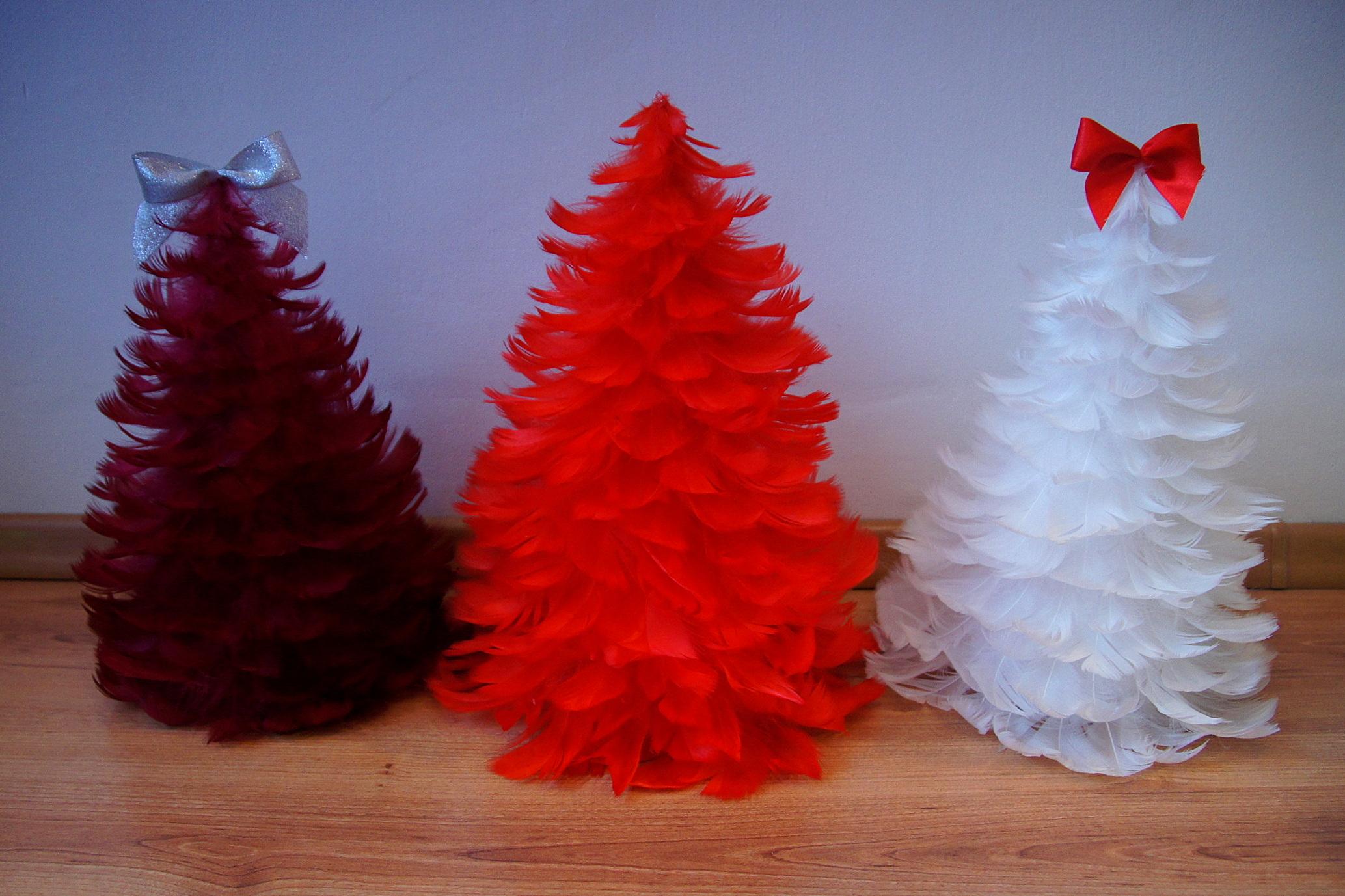 Choinki Z Piórek Dekoracja Bożonarodzeniowa 7052023203