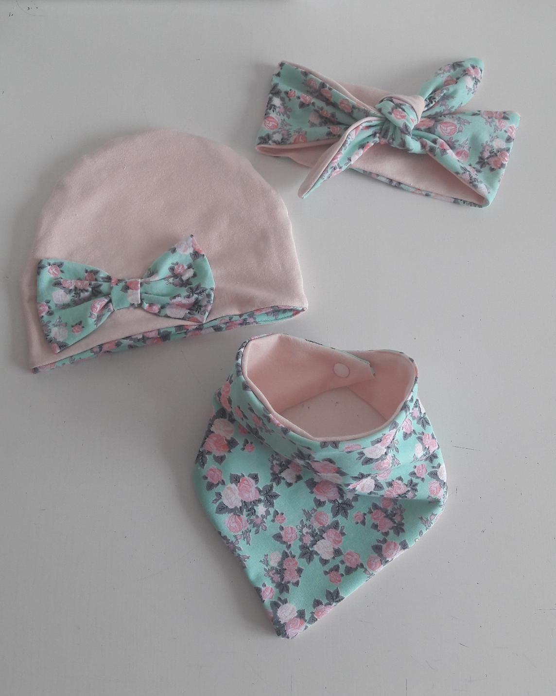85d8a284ba9a42 Komplet wiosenny czapka chusta opaska pin up róże - 7177911117 ...