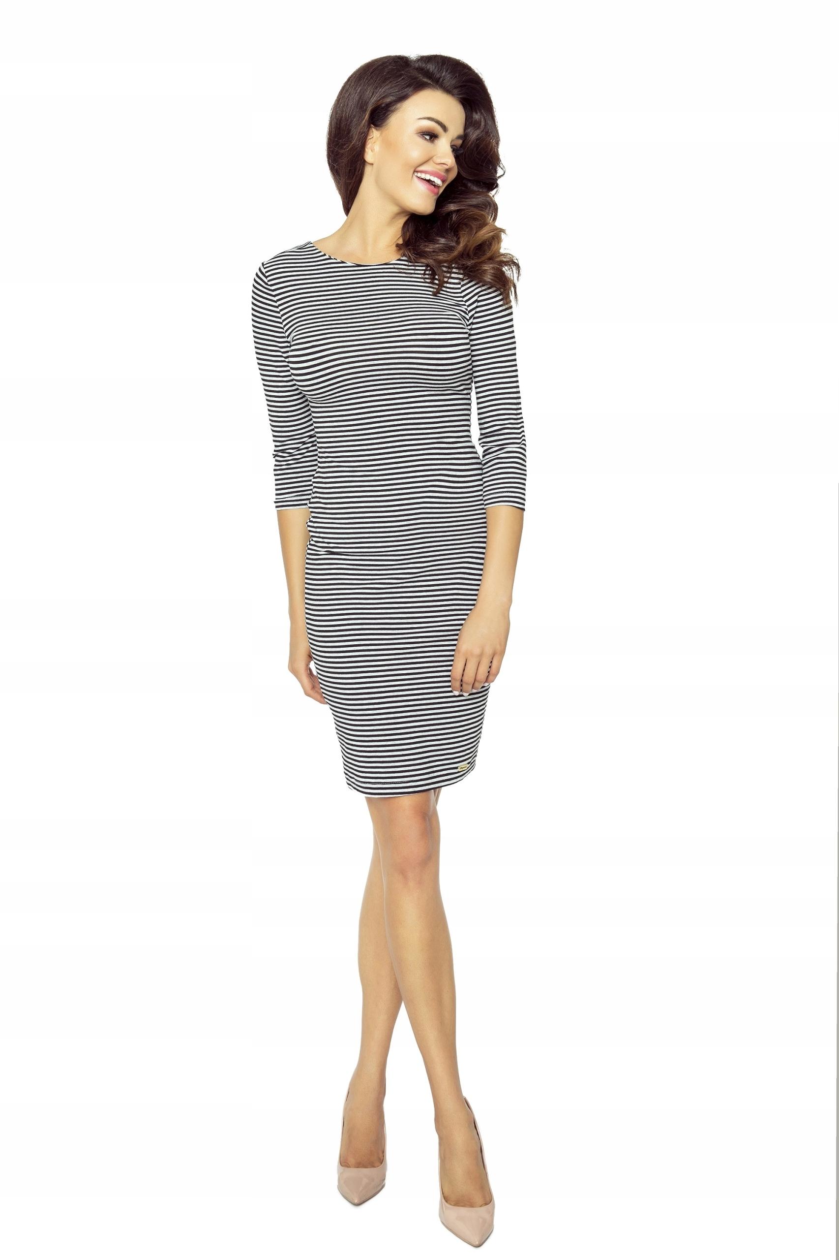 6e26c0b1d6 Ołówkowa sukienka w cienkie czarno-białe paski S - 7714776109 ...