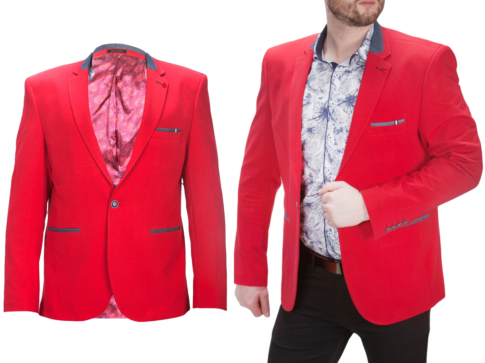 48703706558f3 Marynarka męska czerwona 3300 fashionmen2 rozm. 60 - 7289874839 ...