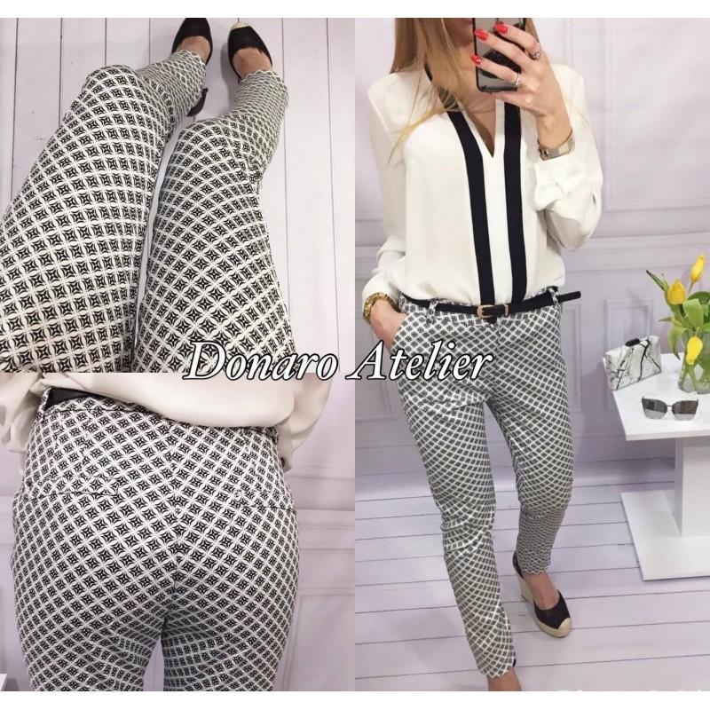1a39617394 spodnie klasyczne Fresia czarno białe + pasek S M - 7232104870 ...