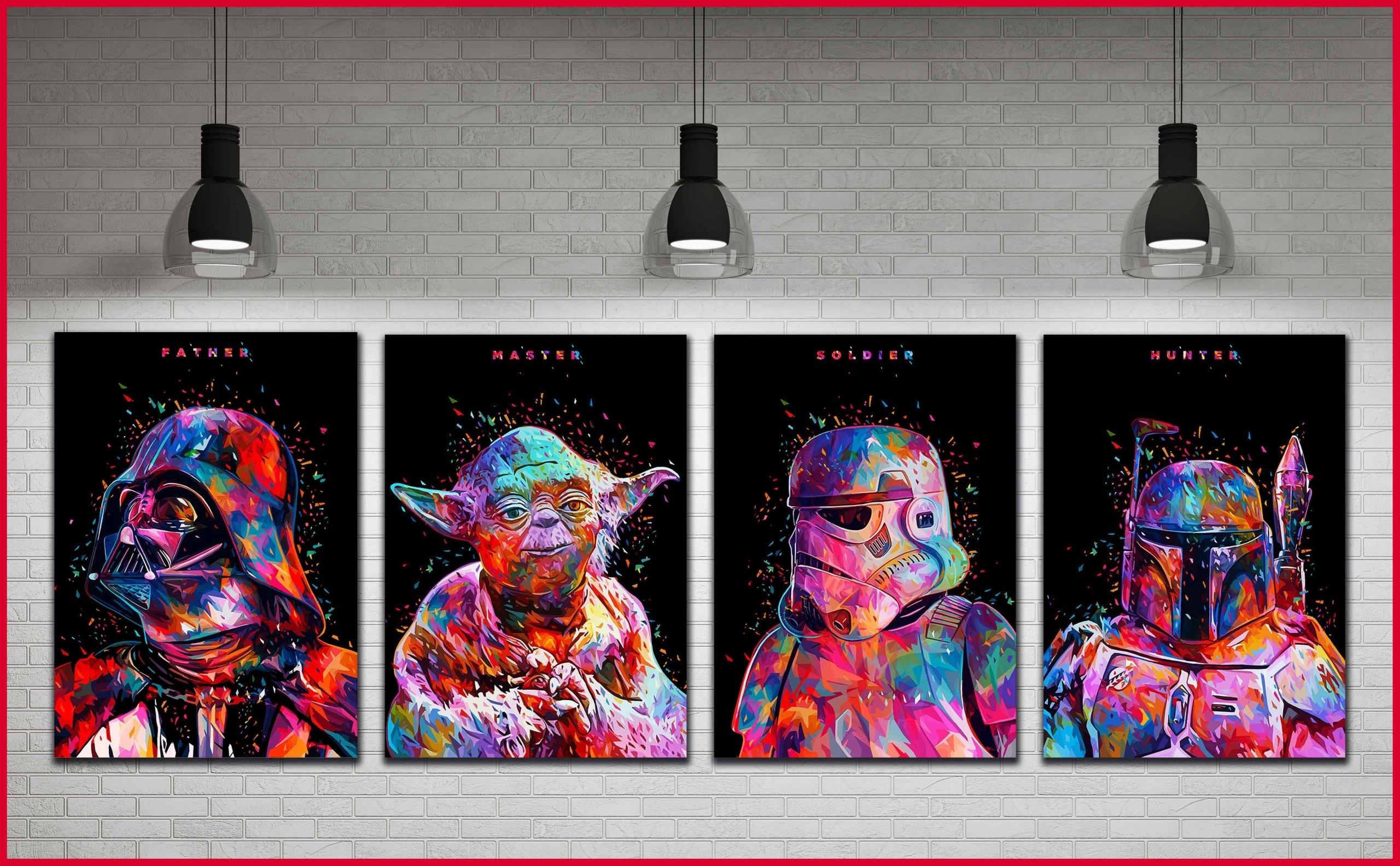 4x Obraz Star Wars Joda Vader Bobba Fett Last Jedi 7522607396