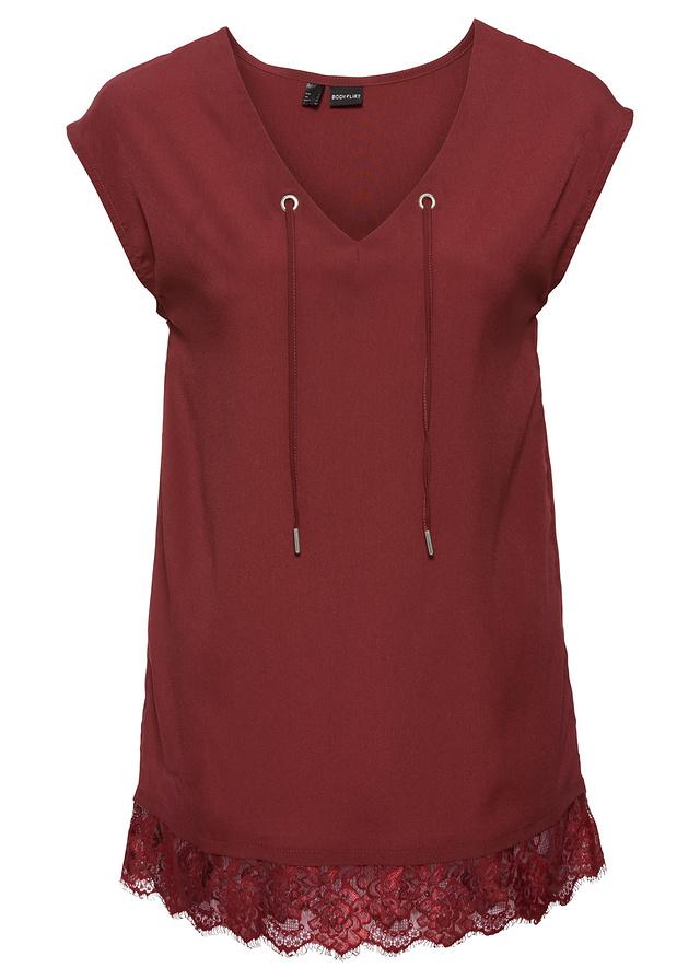 Bluzka szyfonowa czerwony 46 3XL 911395 bonprix