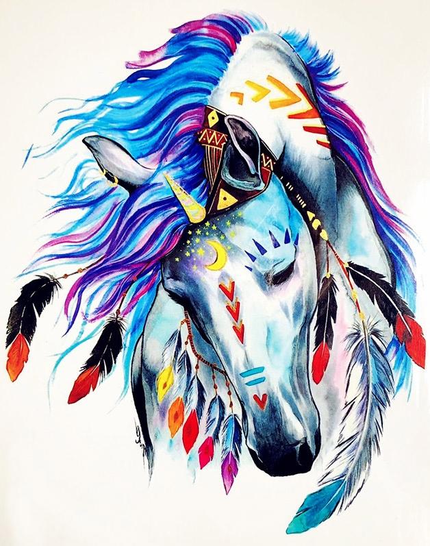 Koń Z Piórami Tatuaż Wodny Zmywalny Kolorowy 7376262491