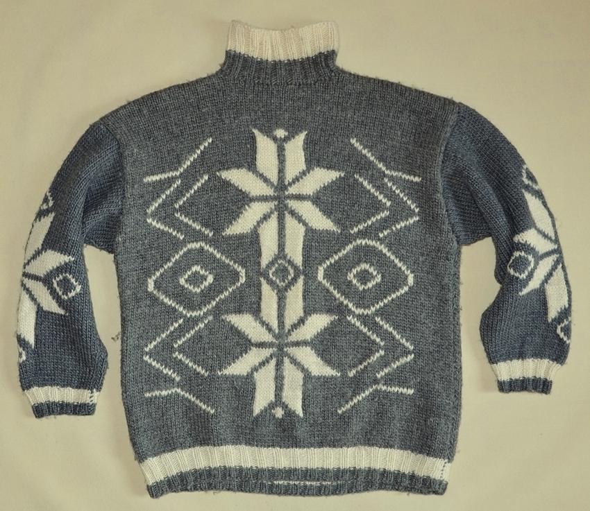 Rewelacyjny Norweski góralski sweter golf hand-made wełna 2XL - 7070367197 MN66