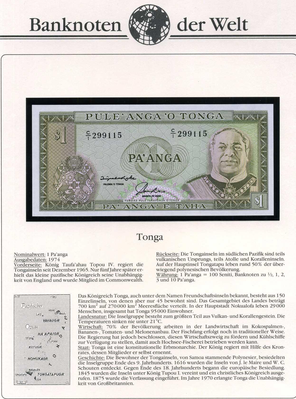 Tonga - 1 Paanga - UNC