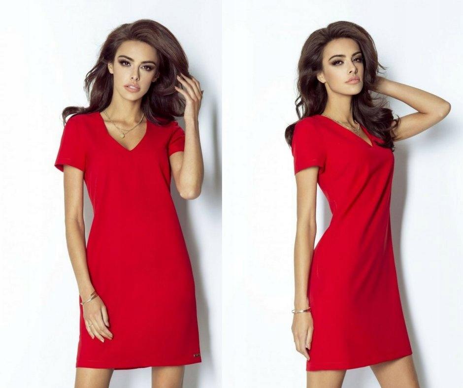 d5ed023783 Klasyczna trapezowa sukienka z dekoltem rozm.XL - 6967806600 ...