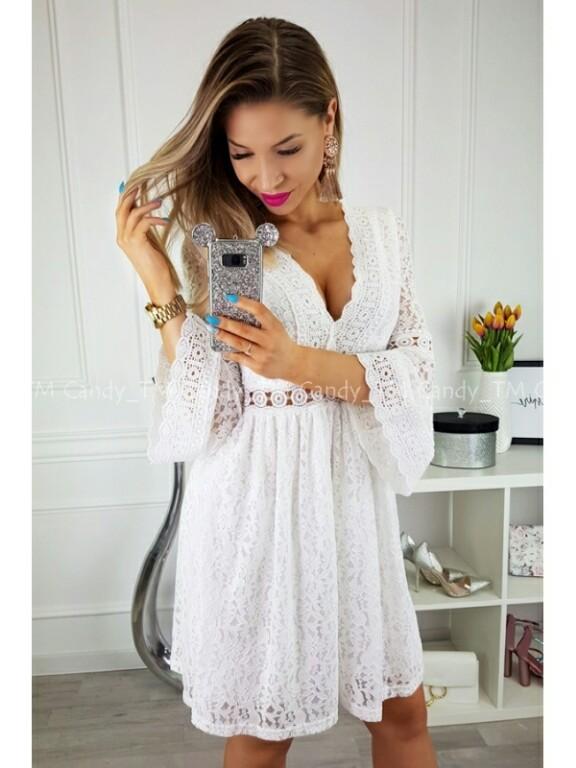 66001bb4 Sukienka koronkowa biała BOHO - 7431133155 - oficjalne archiwum allegro