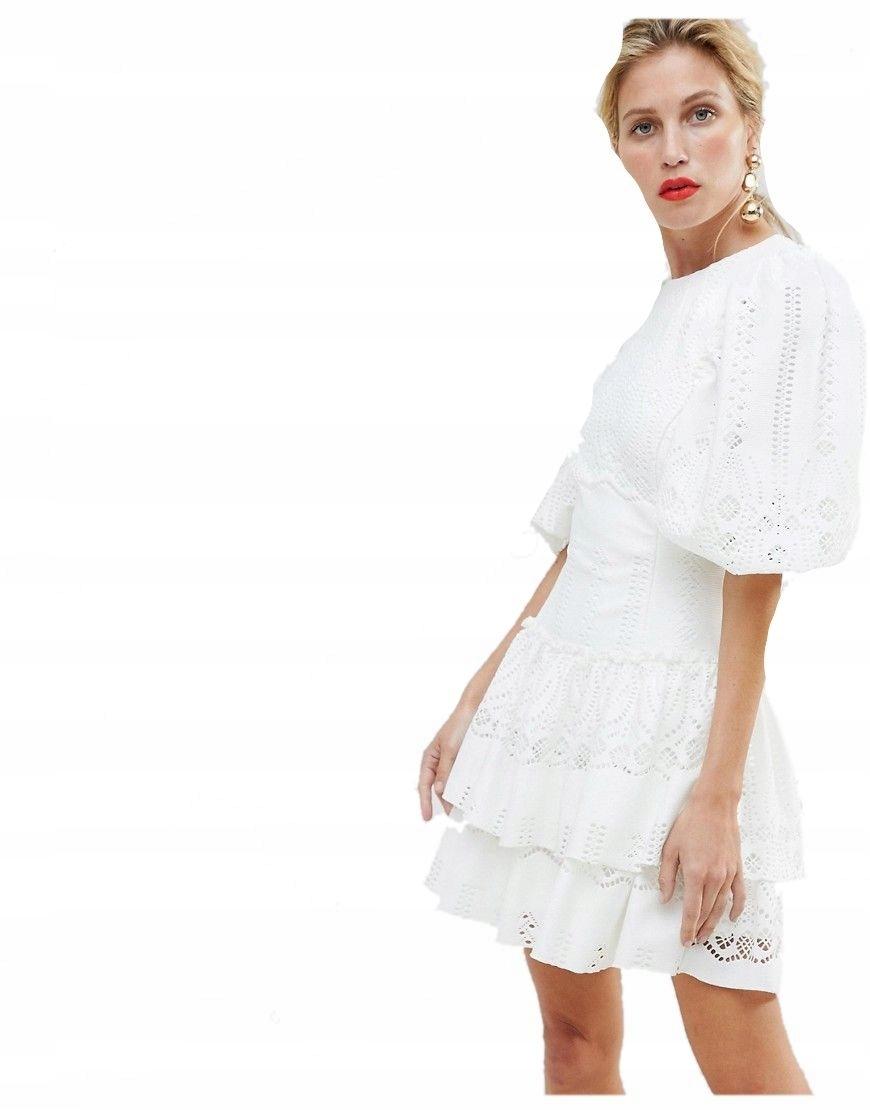 073aeda1ce sukienka MINI kremowa KORONKOWA plecy M 38 - 7446510430 - oficjalne ...