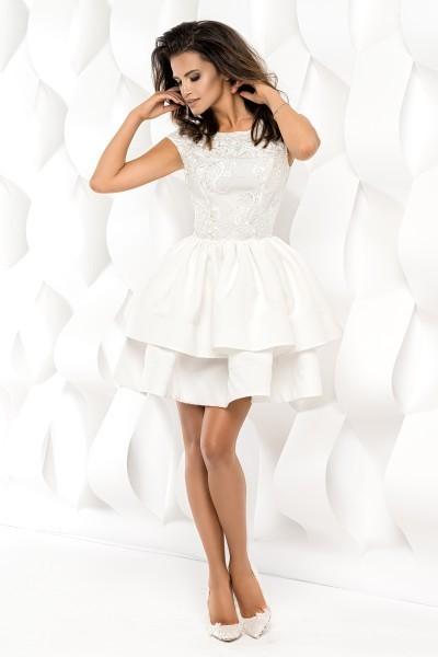 3ad35b6edb Sukienka z falbanami i koronką - biała M - 7410801391 - oficjalne ...
