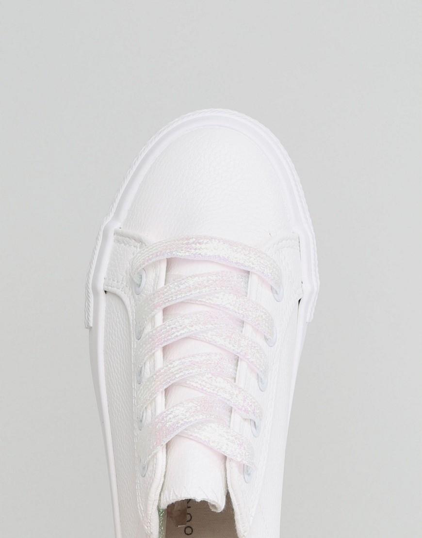 09b4f64a08de6 New Look Białe Trampki na Platformie 40 - 7607905426 - oficjalne ...