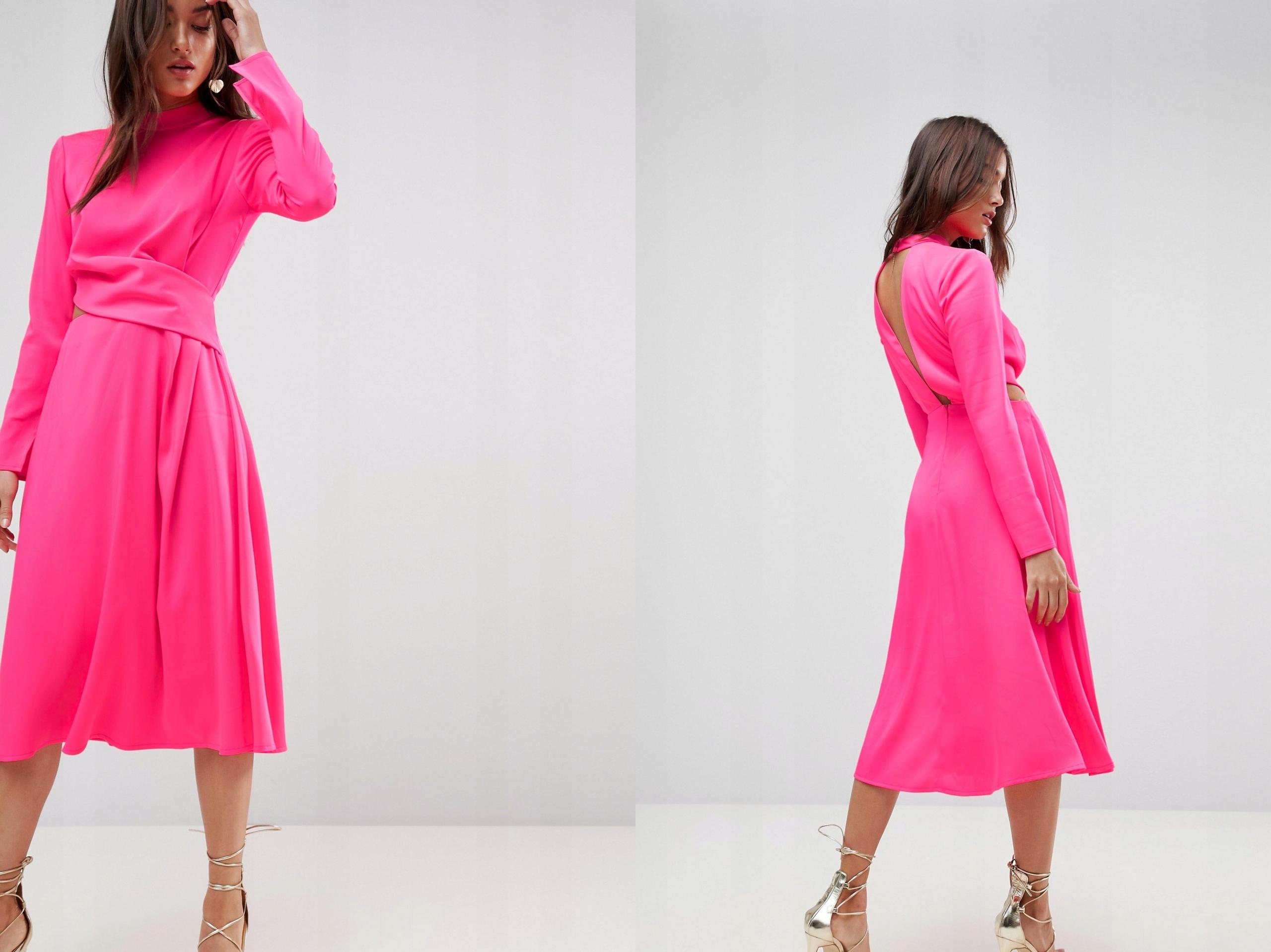 4a6341a2e6 Neonowa Różowa Midi Sukienka Długi Rękaw XS 34 - 7553033474 - oficjalne  archiwum allegro