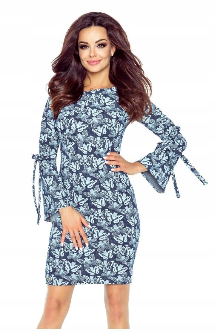 465b3cdd20ef Sukienka z wiązanymi rękawami OLGA - niebieska -mo - 7528159376 ...