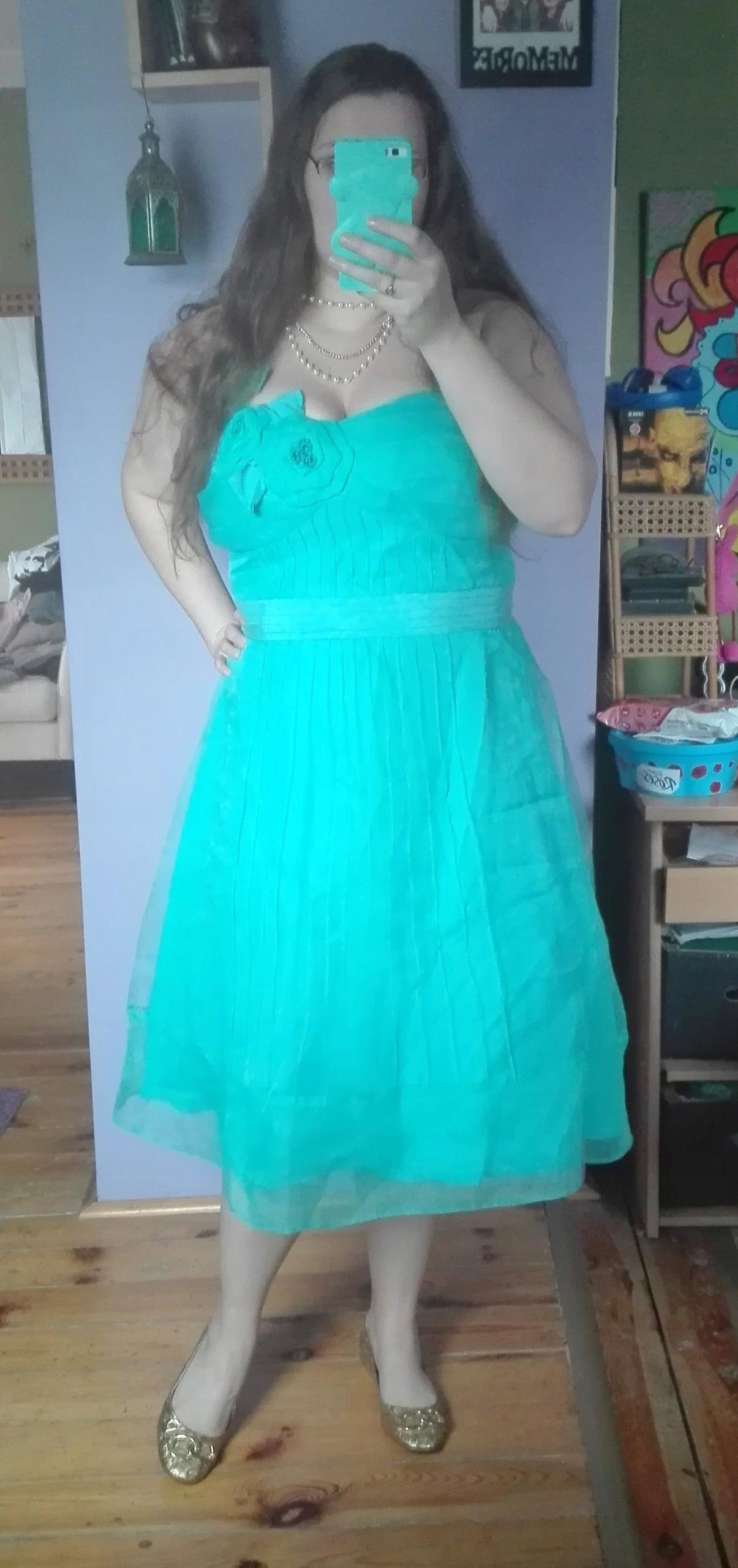 c1dde35c92 Piękna rozkloszowana sukienka balowa turkus 48 - 7468993144 ...