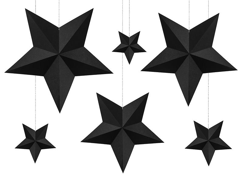 Dekoracje Czarne Gwiazdy 6 Szt Wiszące Gwiazdki 7018471127