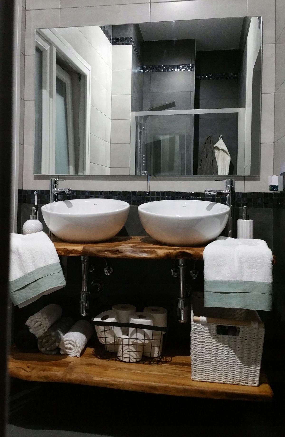 Półka Blat Do łazienki Z Litego Drewna 7556943311