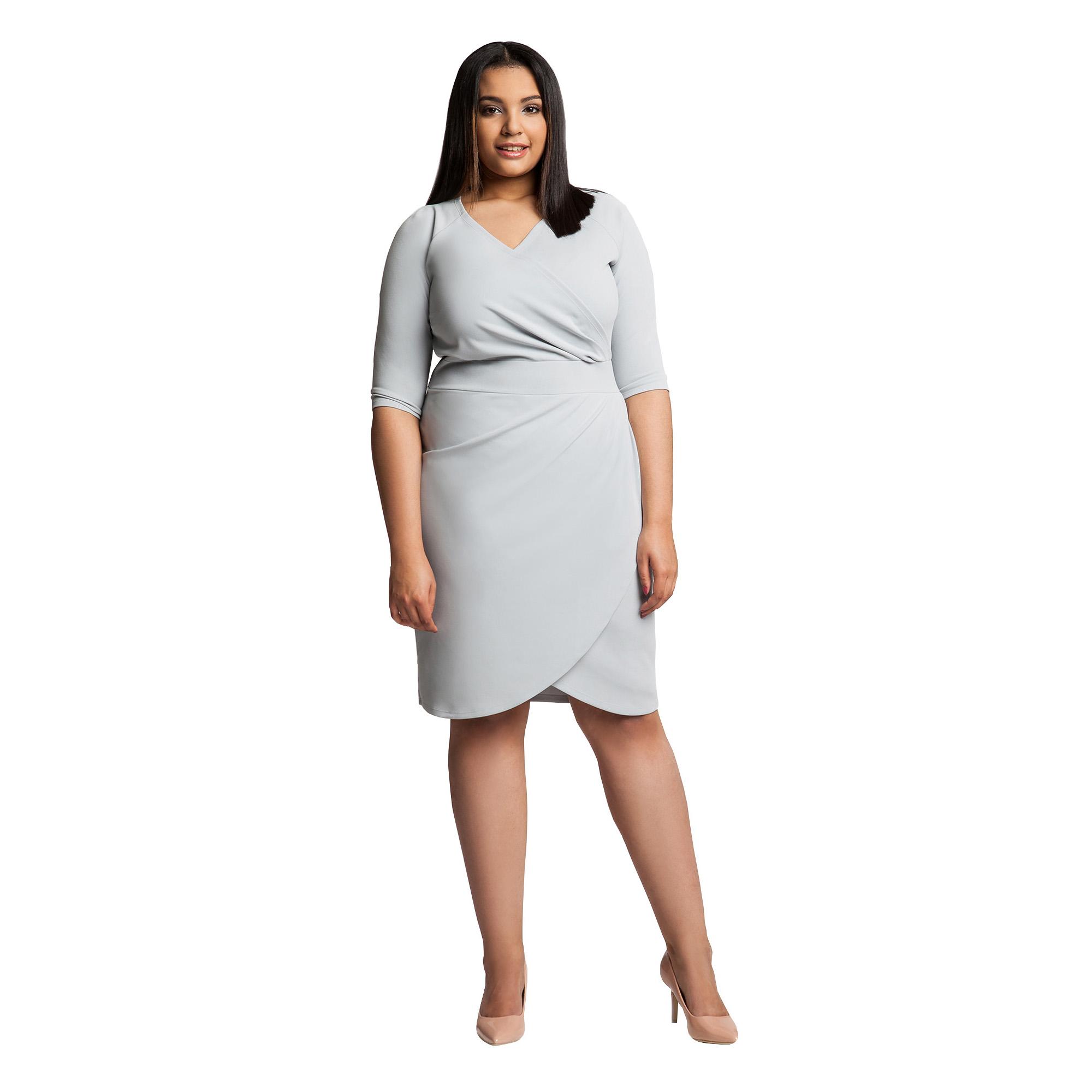 7f96fd483c187d Ołówkowa elegancka szara sukienka plus size 46 - 7359064460 ...