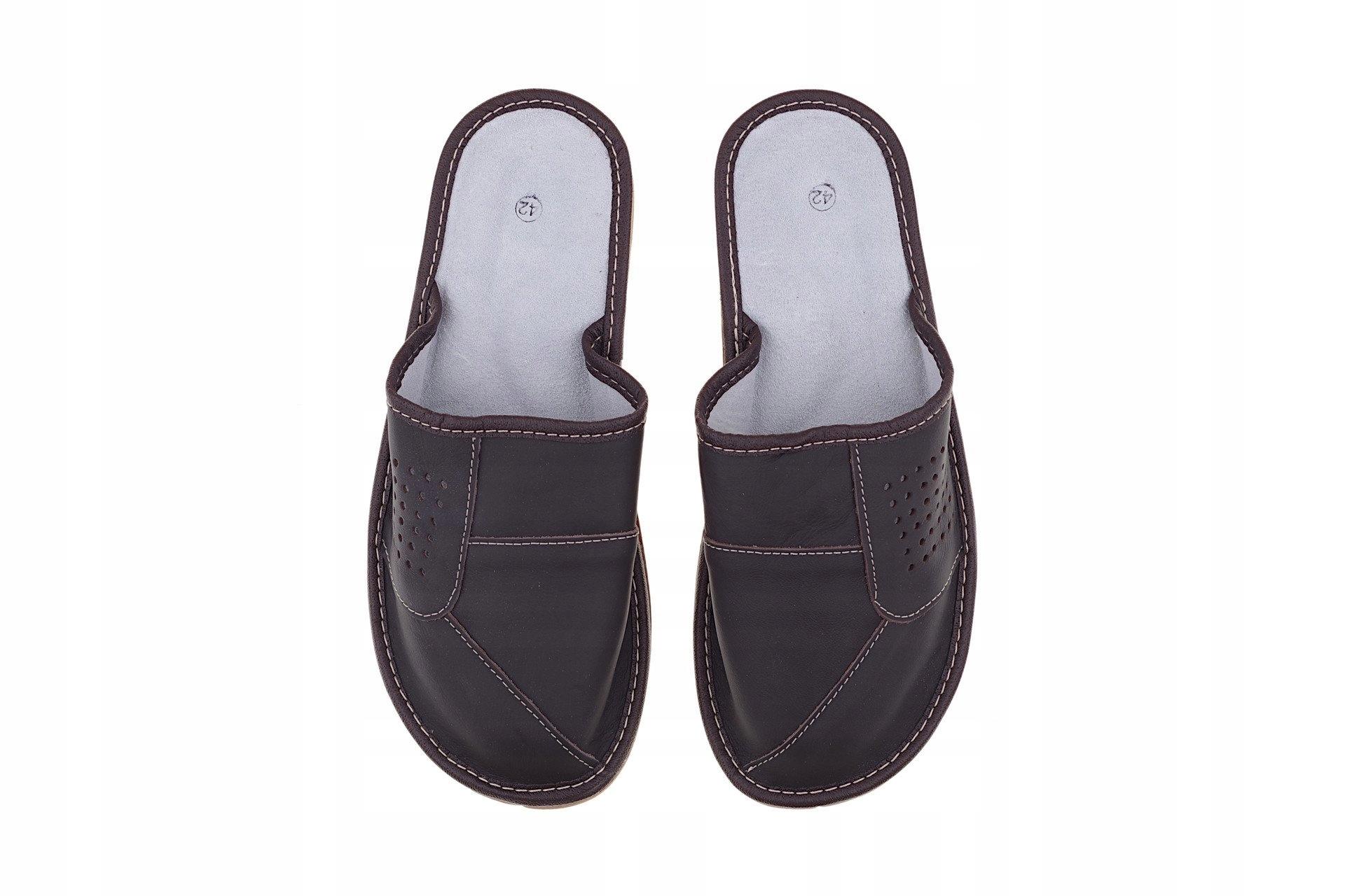 98fe6541 Kapcie skórzane pantofle męskie kryte laczki r. 43 - 7464126368 ...