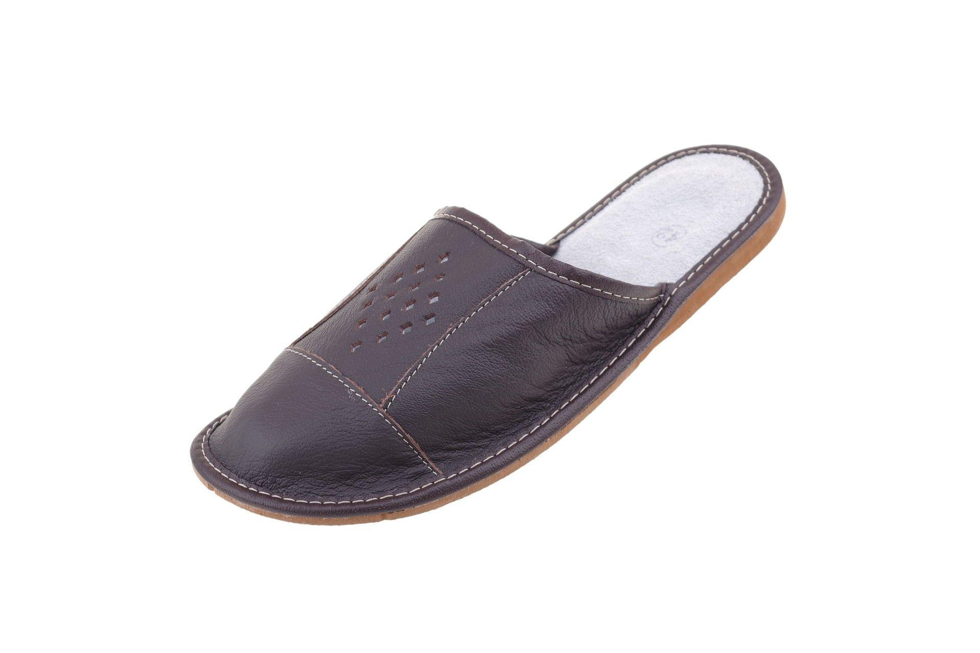Pantofle skórzane profilowane kapcie kryte skóra41 - 7310707590 ... e29d4415db
