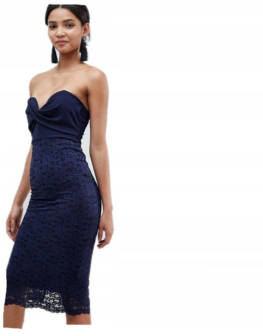 02ddf34dff sukienka KORONKOWA granatowa MIDI XL 42 - 7359198315 - oficjalne ...