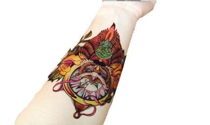 Tatuaż Rękaw Noga 3d Sowa Kolor Dziara Tymczasowy
