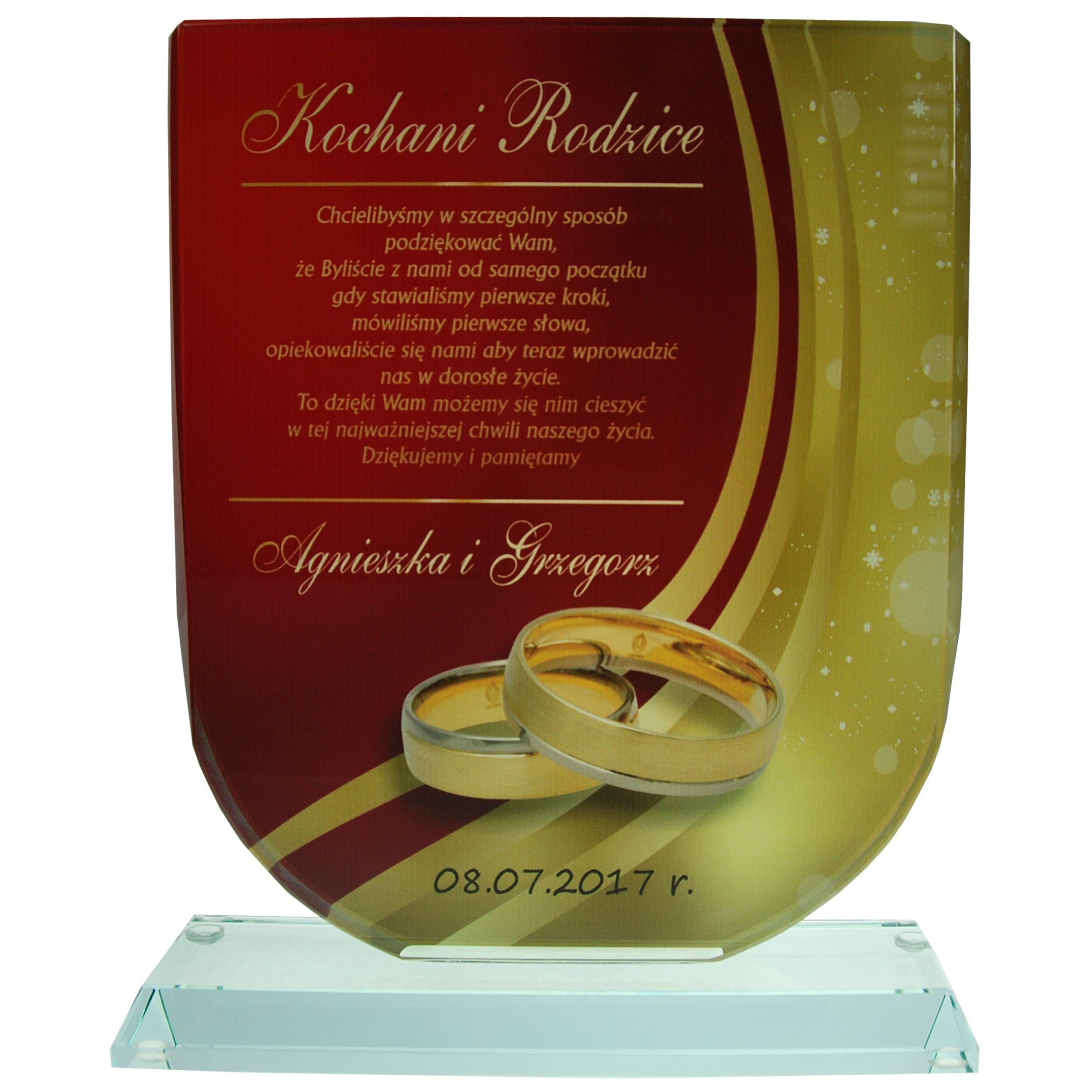 6de5ec478a47dd Szklane trofeum z indywidualną dedykacją rodziców - 7090380432 ...