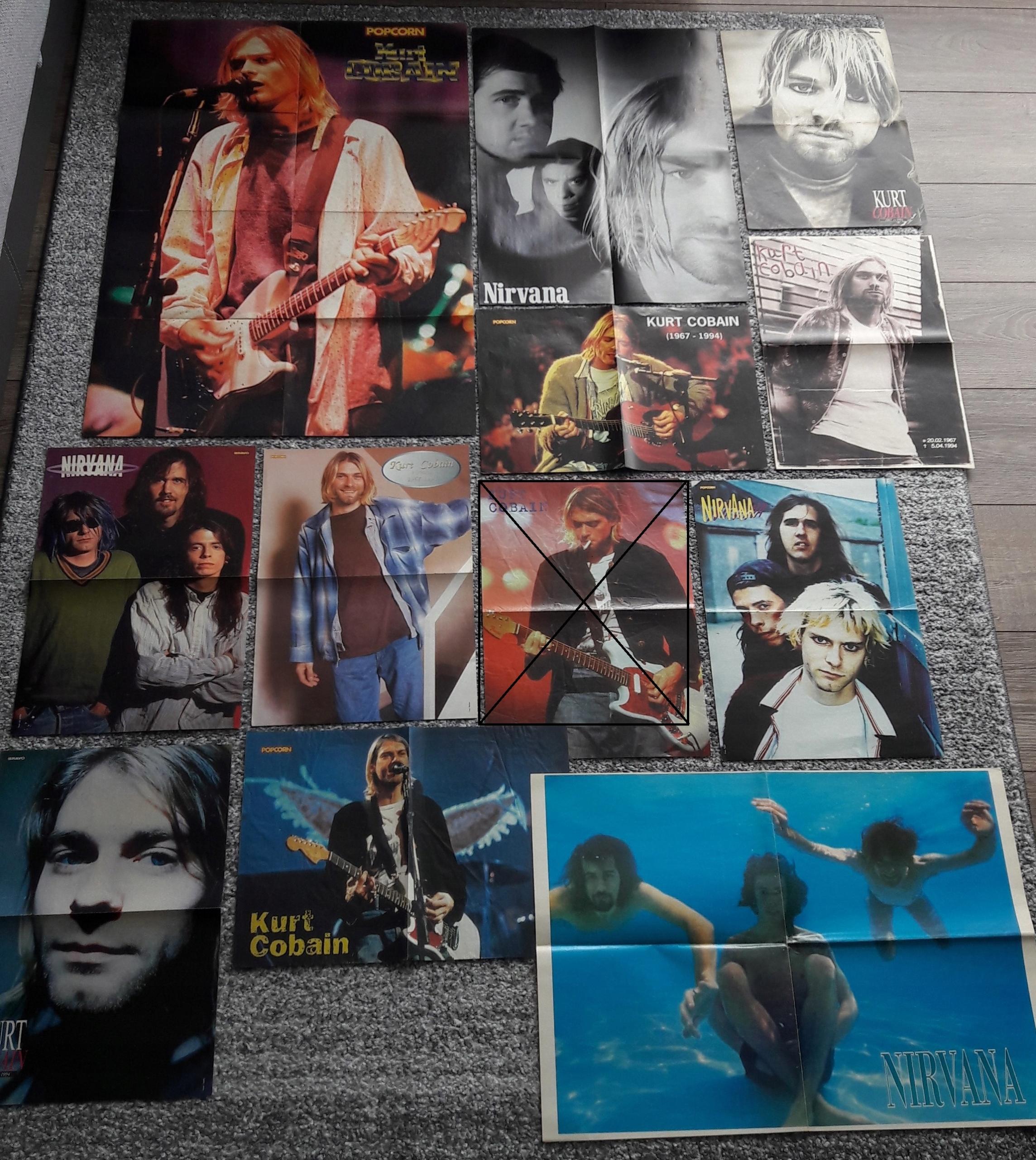 Nirvana, Kurt Cobain, Dave Grohl - 11 Plakatów Rar
