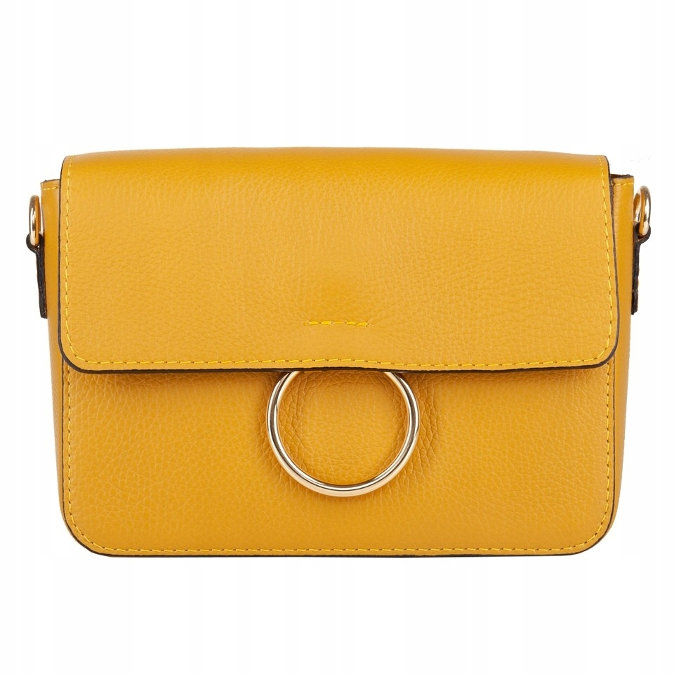 8add4e254e109 Włoska skórzana torebka listonoszka żółta (4511) - 7677033426 ...
