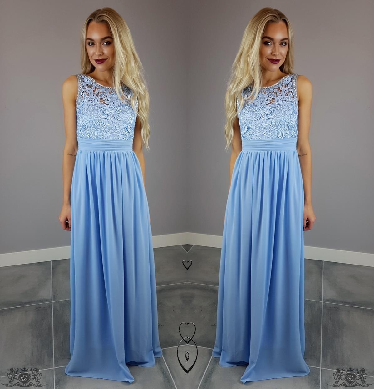 Błękitna Długa Sukienka Ciążowa Wesele Xxl 7414063839 Oficjalne