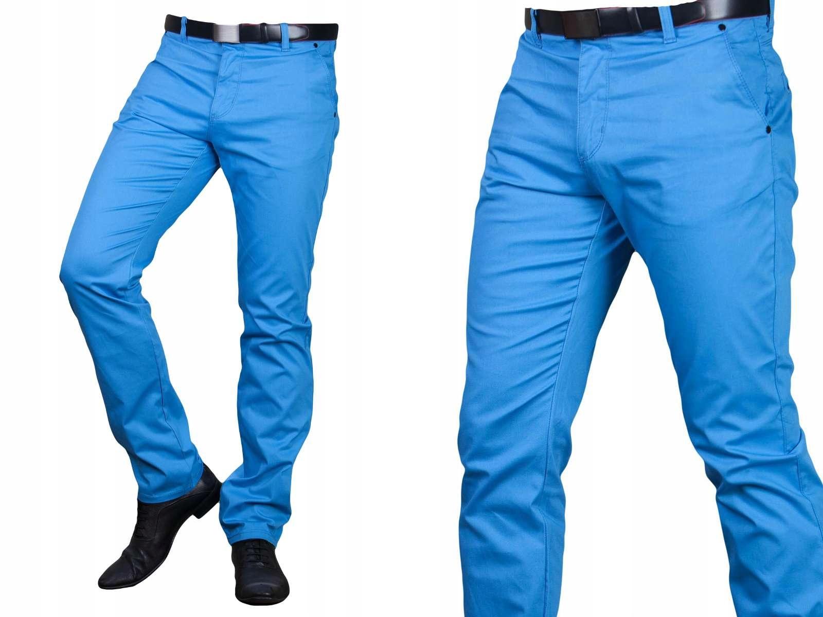 c039a38ddea7f Spodnie wizytowe lazurowe 2501 fashionmen2 rozm.30 - 7186830872 ...