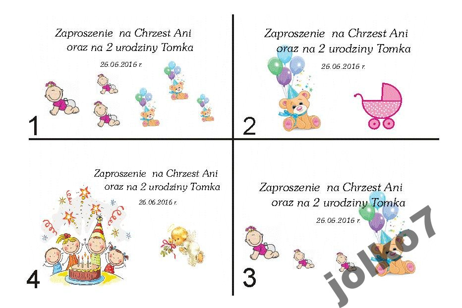 Zaproszenia 2 W 1 Chrzest I Urodziny 5100939873 Oficjalne