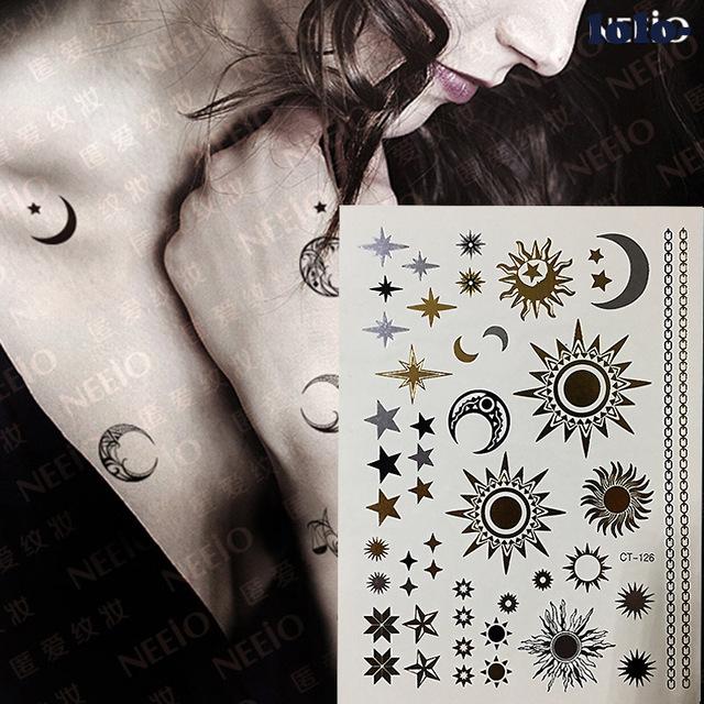 Komplet Tatuaży Zmywalnych Gwiazdy Słońce Księżyc