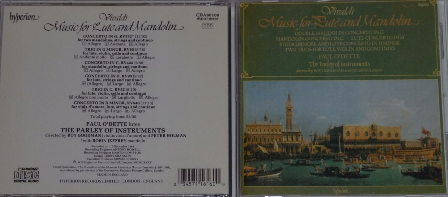 VIVALDI - MUSIC FOR LUTE AND MANDOLIN O'DETTE - 7471908652