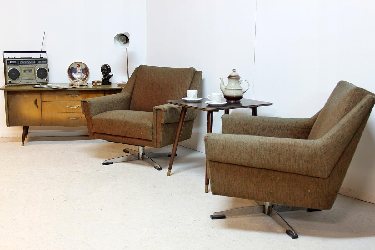 2 Fotele Klubowe Obrotowe Retro Vintage Prl Lat 60