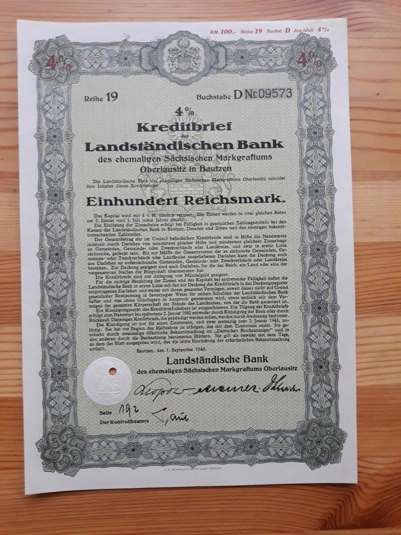 KREDITBRIEF DER LANDSTANDISCHEN BANK IN BAUTZEN