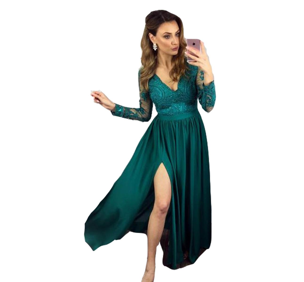 9645bf78dd Sukienka wieczorowa elegancka długa wesele koronka - 7153701430 ...