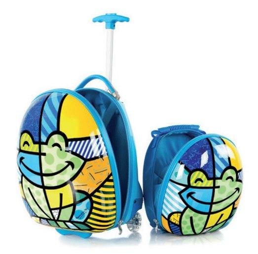 Zestaw: ultra lekka walizka i plecak Heys - Żaba