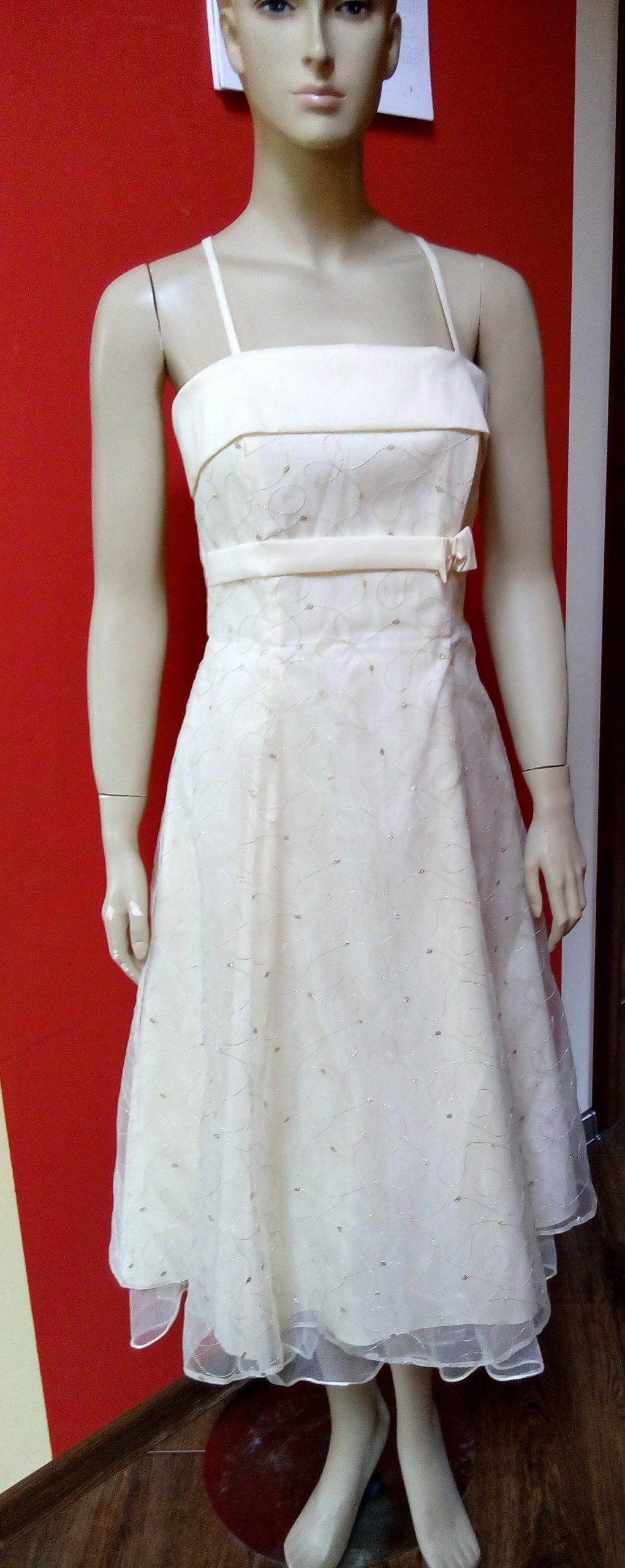 ded89c7adb Elegancka sukienka na wesele okazję ecru 36 38 - 7354411362 ...