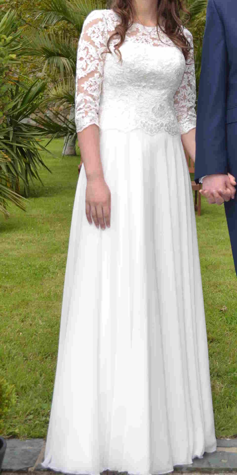 4496ac209f muślinowa suknia ślubna Alpina Mróz Joan r36-38 - 7051287682 ...