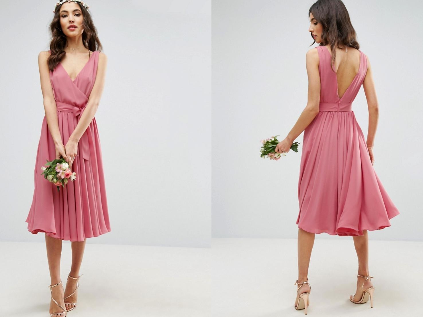2ca6110b2c różowa sukienka rozkloszowana midi L 40 - 7213022663 - oficjalne ...