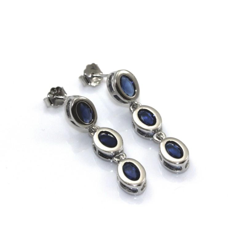 9b8f562bef2744 Kolczyki srebrne rodowane z szafirami - 6843168049 - oficjalne ...