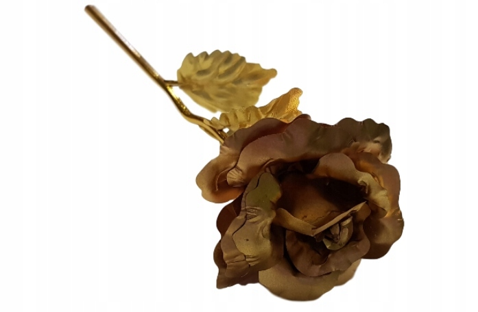 Róża złocona na prezent ZŁOTA plastikowa w pudełku