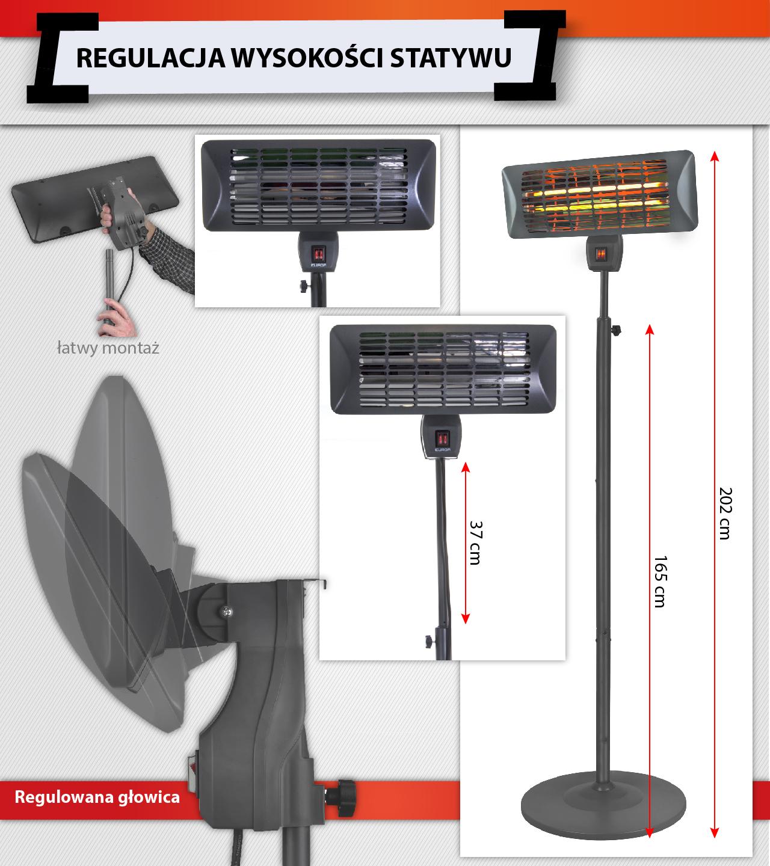 Zeer GRZEJNIK KWARCOWY EUROM Q-TIME 2000S 2kW STATYW - 6969465541 JF43