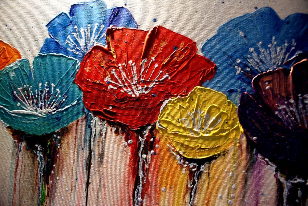 Abstrakcja Kolorowa łąka Kwiaty Obraz Na Płótnie 7234631648