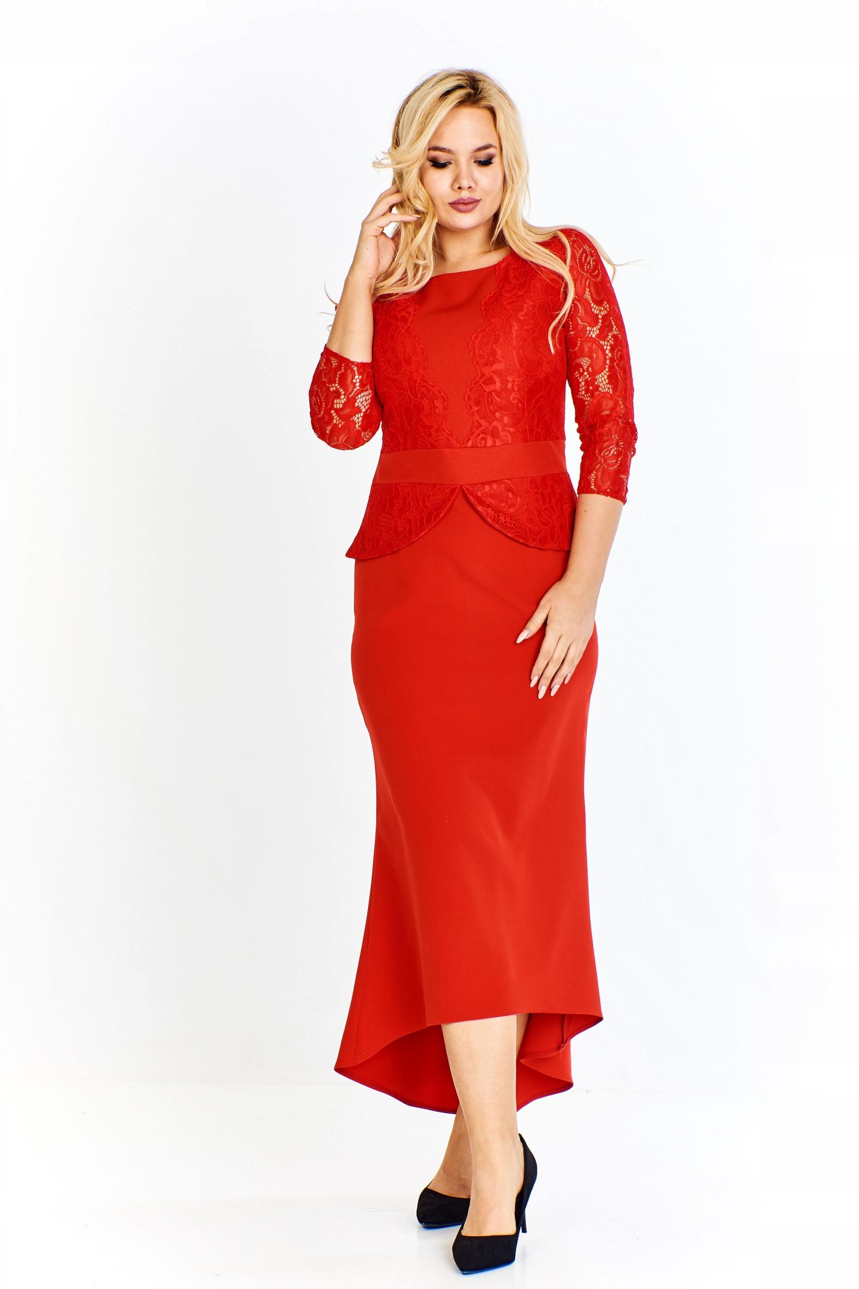 52f1940dcc Długa czerwona sukienka z koronkową górą 44 - 7713443729 - oficjalne ...