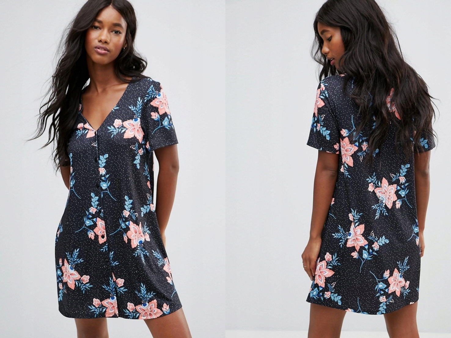 8831a3873b Czarna sukienka w kwiaty oversize XXL 44 - 7498031022 - oficjalne ...