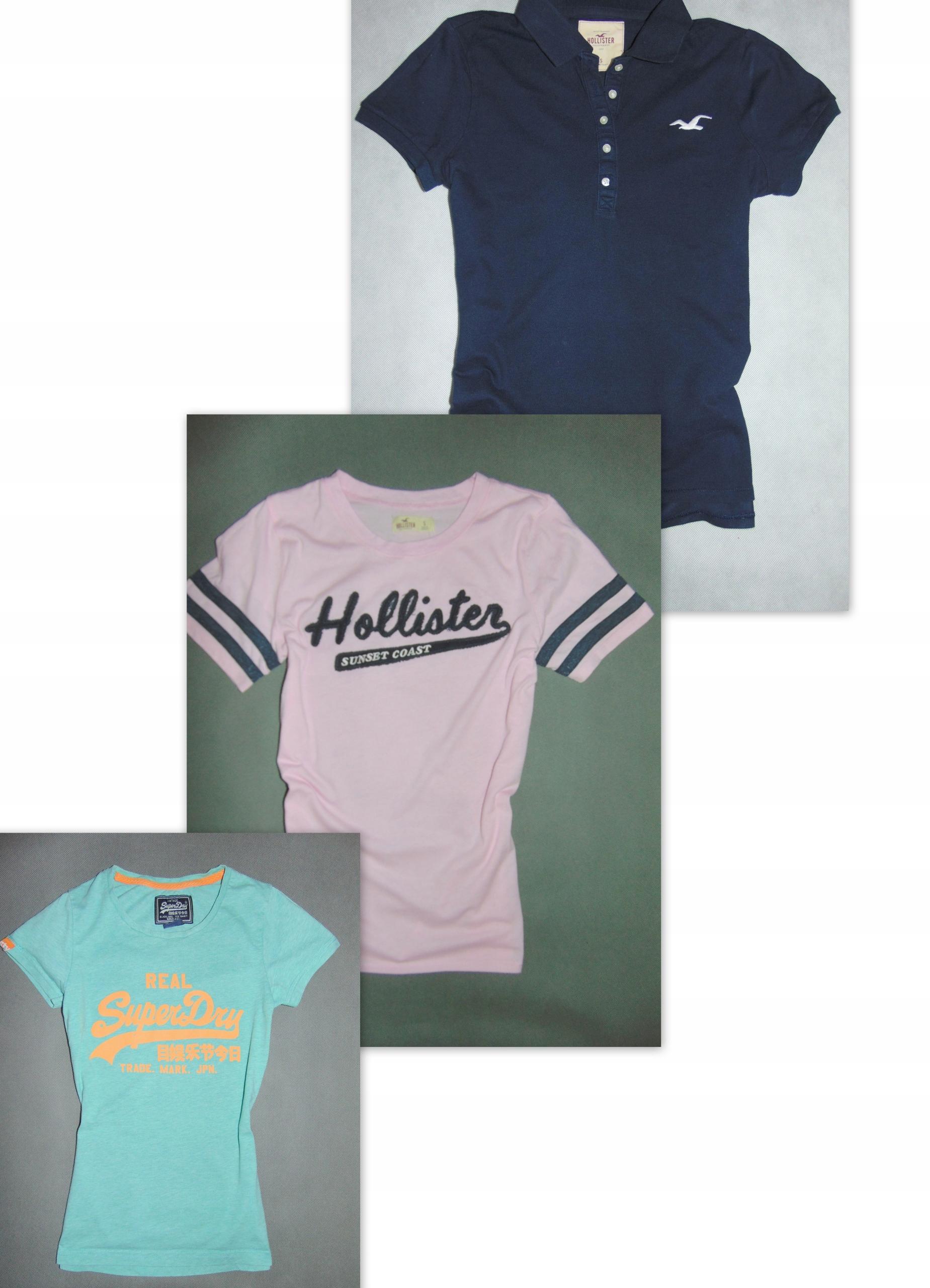 c1ef51fb23869 SUPERDRY HOLLISTER 3 szt koszulki damskie r S - 7708603988 - oficjalne  archiwum allegro