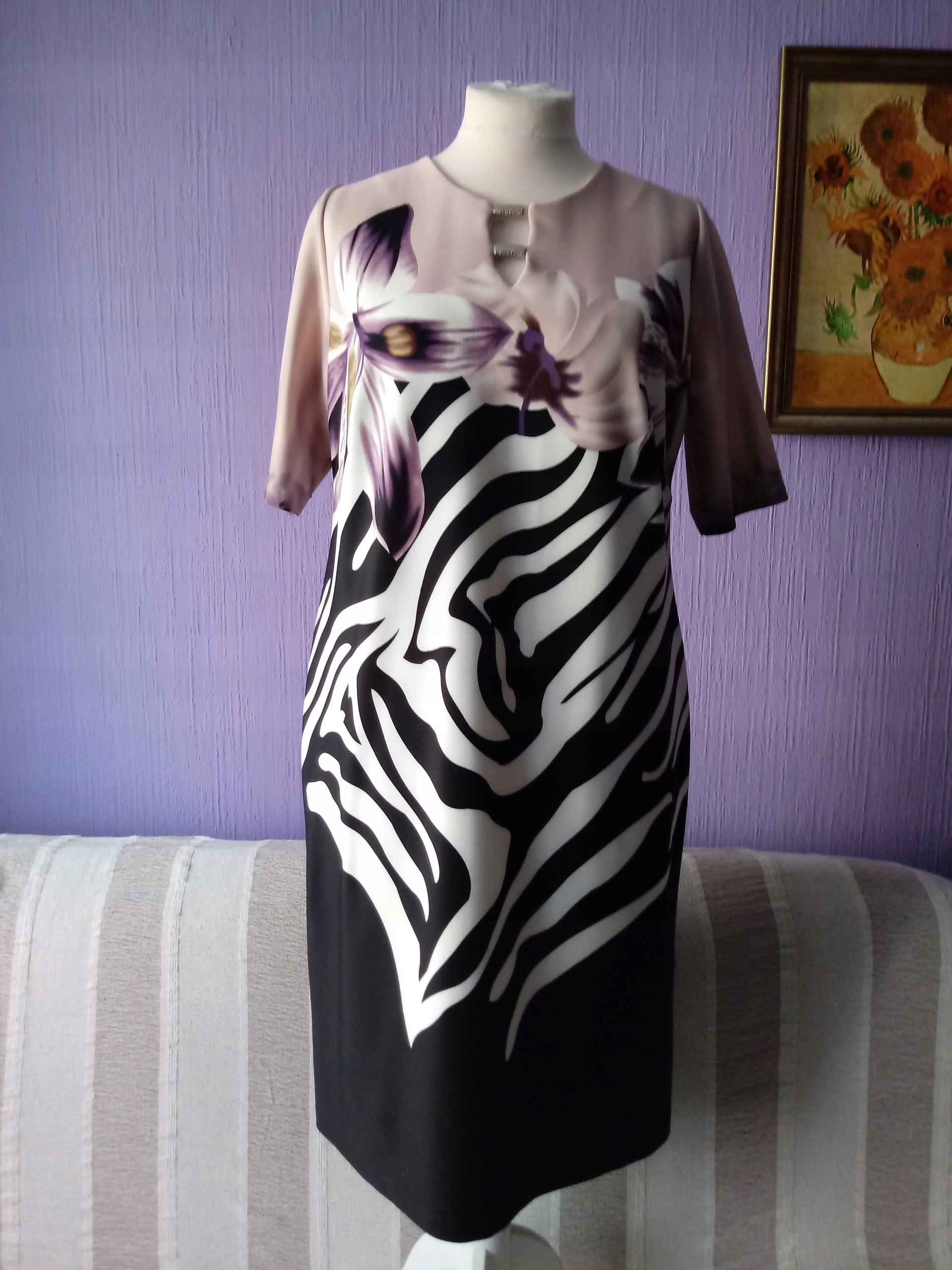 3c0ece3aaecf82 Sukienka MAZEX róż kwiaty czerń biel zebra 46/48 - 7530579088 ...