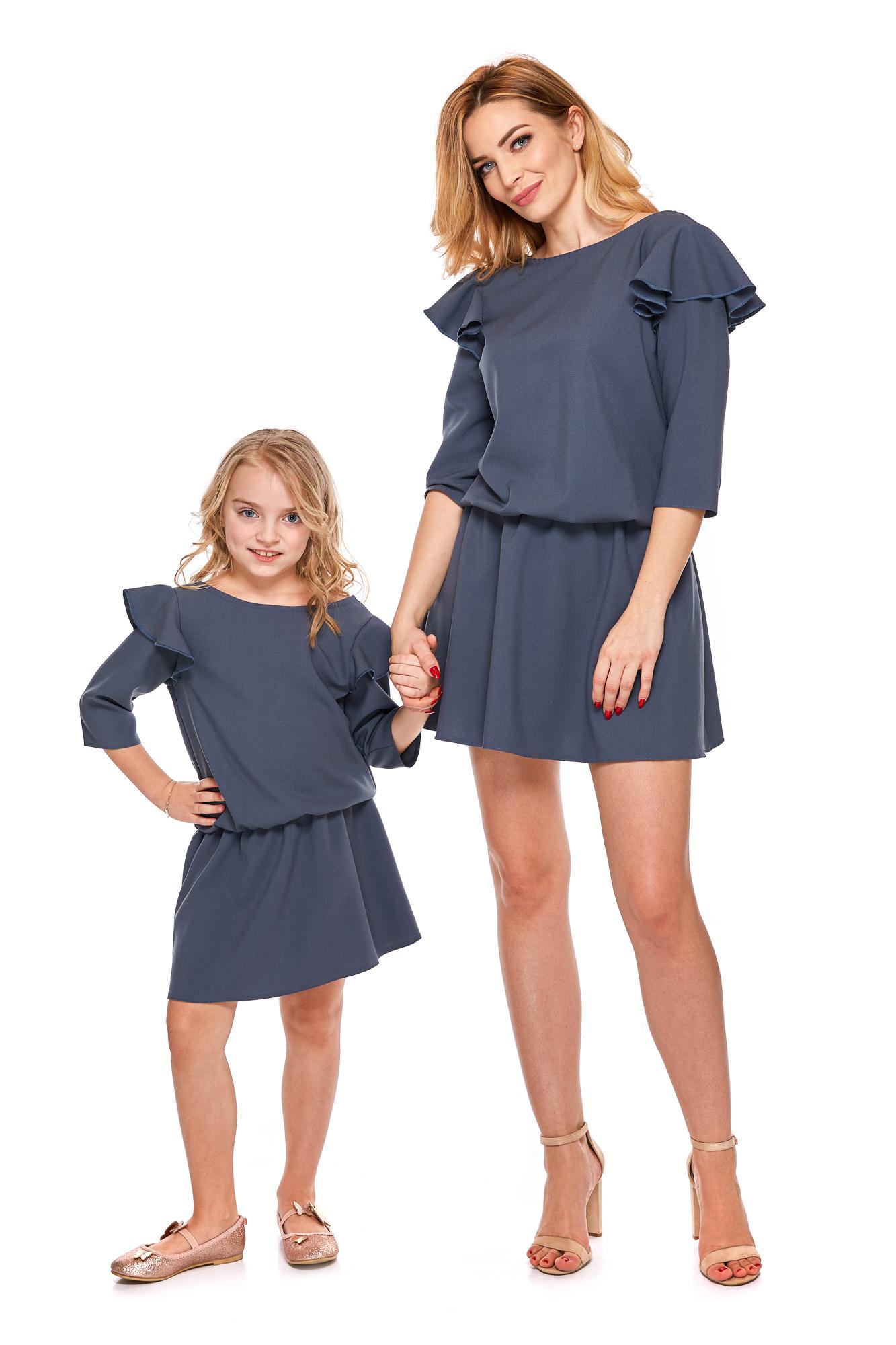 78416f84523984 sukienka mama i córka szara rękaw 3/4 98/104 - 7197665155 ...